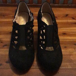 Black Suede Bootie Heels